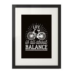 """Czarny plakat na ścianę z rowerem """"Life is all about balance"""""""