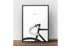 "Minimalistyczny plakat z rowerem i napisem ""I love my bike"""