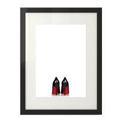 """Minimalistyczny plakat w stylu glamour i fashion przedstawiający czarne szpilki z czerwoną podeszwą """"Heels"""""""