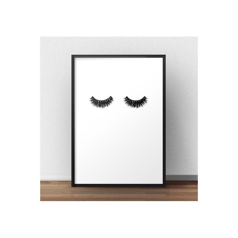 """Minimalistyczny plakat fashion przedstawiający gęste i mocno wytuszowane rzęsy """"Lashes"""""""