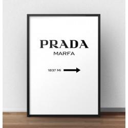 """Grafika z napisem """"Prada - Marfa"""" w wersji pionowej"""