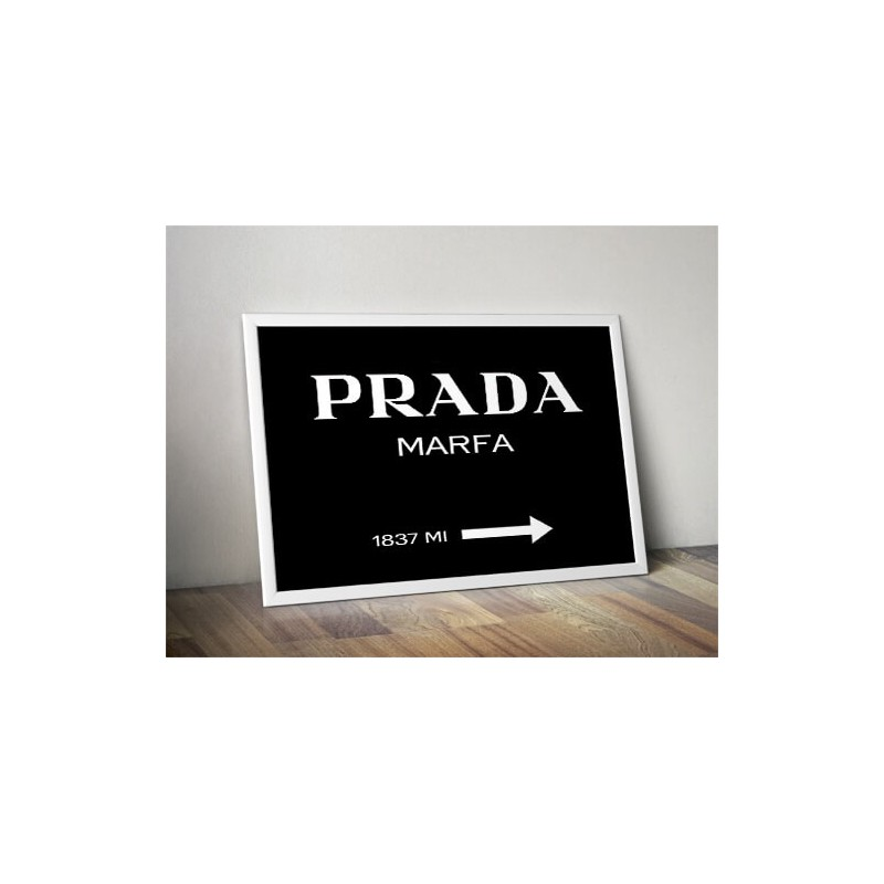 Black poster with the inscription Prada - Marfa