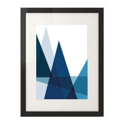Geometryczna i abstrakcyjna grafika do dekoracji ściany w kolorze niebieskim