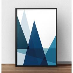 Geometryczny plakat na ścianę w kolorze niebieskim