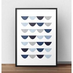 """Plakat geometryczny w niebieskiej tonacji """"Skandynawska firanka"""""""