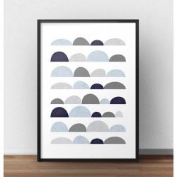 """Plakat geometryczny """"Abstrakcyjne kamienie"""" do powieszenia na ścianie lub postawienia na półce"""