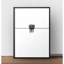 """Czarno-biały plakat na ścianę """"Ptaszki trzy"""""""