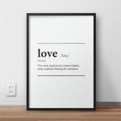 """Typograficzny plakat z napisem definicji słowa miłość """"Love"""""""
