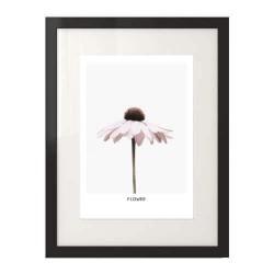 """Dekoracyjny plakat na ścianę z różowym kwiatkiem """"Flower"""" w ramie z passepartout"""