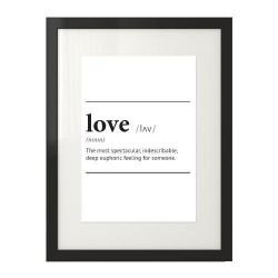 """Czarno-biały plakat na ściane z napisem definicji słowa miłość """"Love"""""""