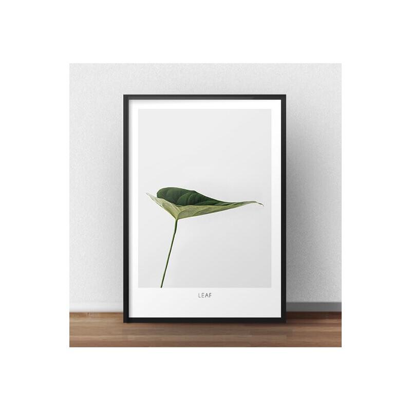 """Elegancki plakat z zielonym liściem """"Leaf"""""""