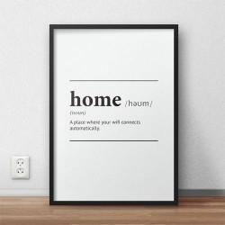 Typograficzny plakat na ścianę z napisem definicji słowa dom - Home