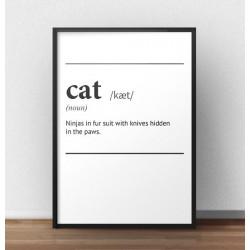 """Plakat z napisem definicji kota, po angielsku słowa """"Cat"""""""