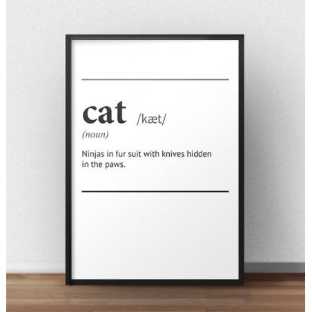 """Plakat z napisem definicji słowa """"Cat"""""""