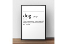 """Plakat z napisem definicji słowa pies """"Dog"""" w języku angielskim"""