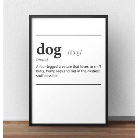 """Plakat z napisem definicji słowa """"Dog"""""""