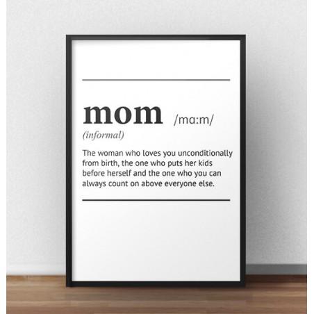 """Plakat z napisem definicji słowa """"Mom"""""""