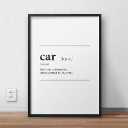 Typograficzny plakat z definicją słowa car oprawiony w ramę