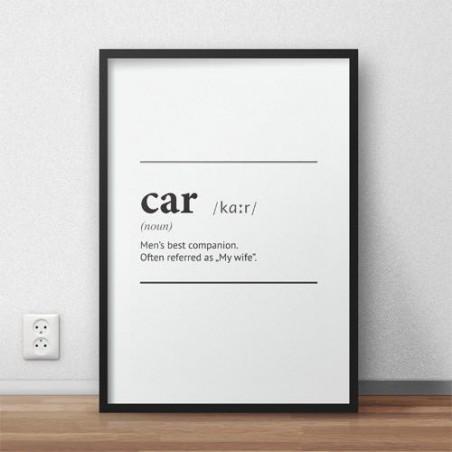"""Plakat z napisem definicji słowa """"Car"""""""