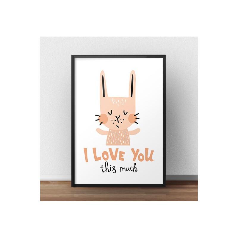 Plakat z napisem i królikiem dla dzieci