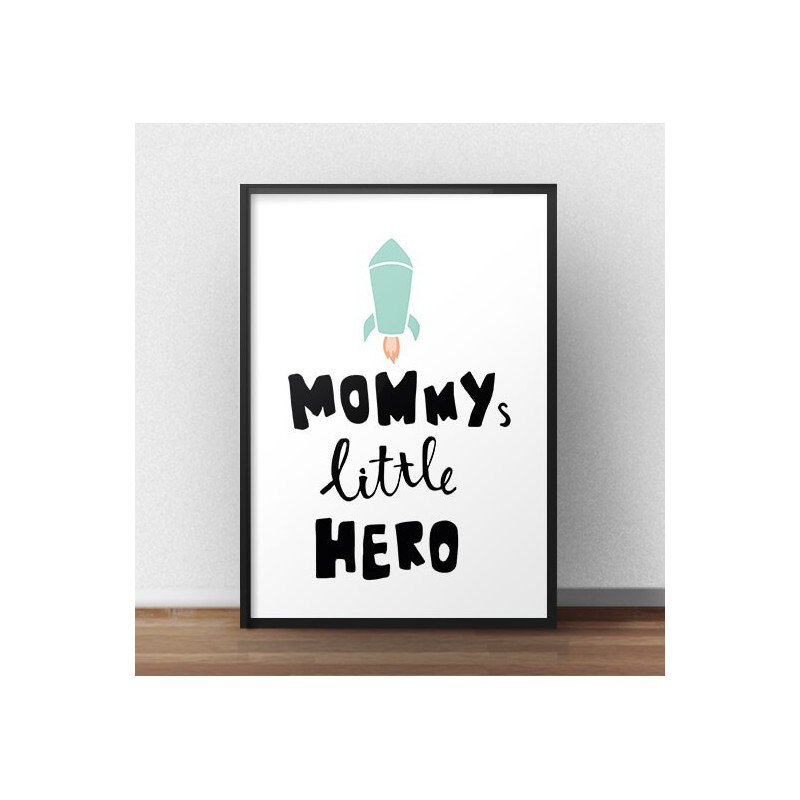 Poster with rocket Mummy, little hero
