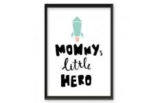 Plakat z napisem i rakietą dla dzieci