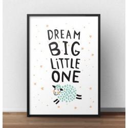 """Plakat z owcÄ… """"Dream big"""""""