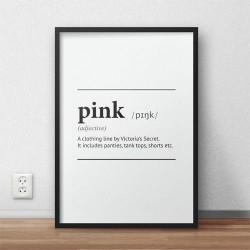 Typograficzny plakat z napisem definicji słowa różowy do zawieszenia na ścianę
