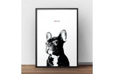 """Plakat z buldożkiem """"I love my dog"""""""