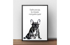 "Plakat z napisem ""Godne życie psa"""