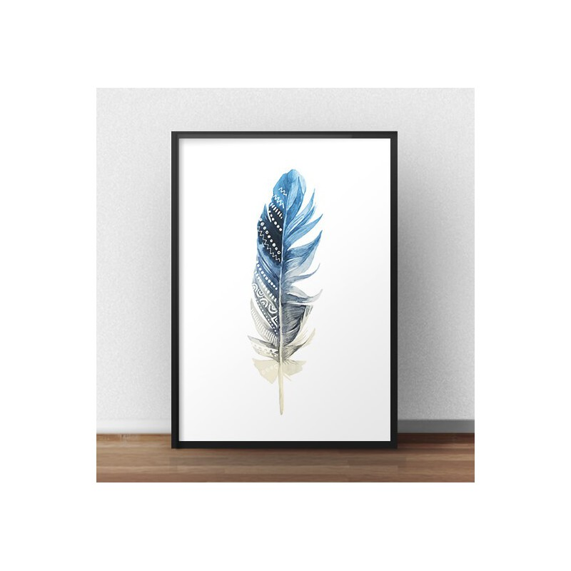 Decorative poster Blue feather