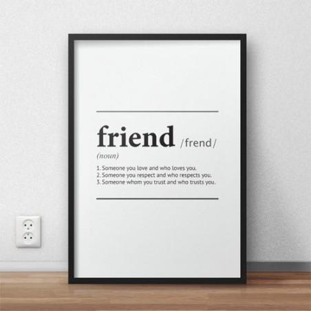 """Plakat z napisem definicji słowa """"Friend"""""""