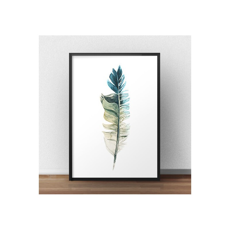 Decorative poster Turquoise feather