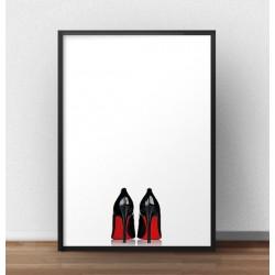Plakat z czarnymi szpilkami z czerwoną podeszwą wchodzący w skład zestawu plakatów