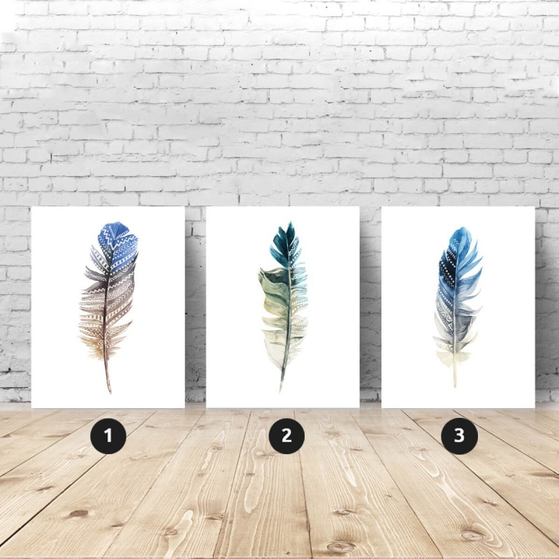 Set of 3 posters with feather