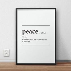 Typograficzny plakat z napisem definicji słowa pokój do zawieszenia na ścianie pokoju