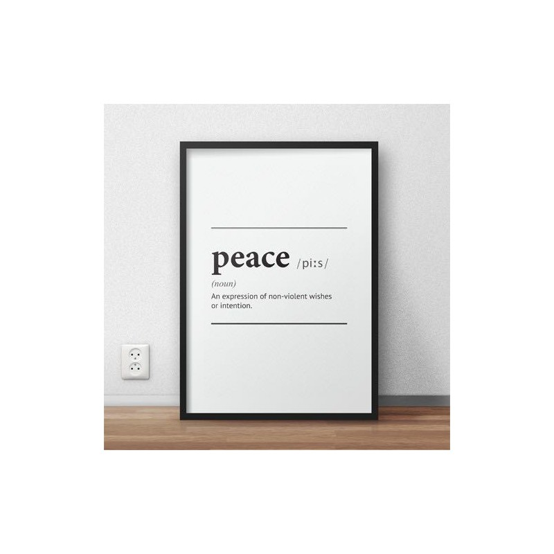 Poster with the definition of the word Peace