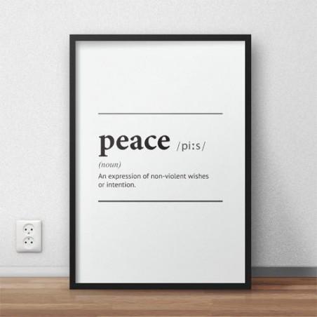 """Plakat z napisem definicji słowa """"Peace"""""""