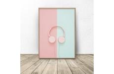 """Plakat """"Różowe słuchawki"""""""