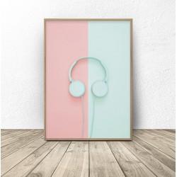 """Plakat na ścianę """"Miętowe słuchawki"""""""