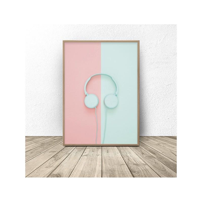 Wall poster Mint Headphones