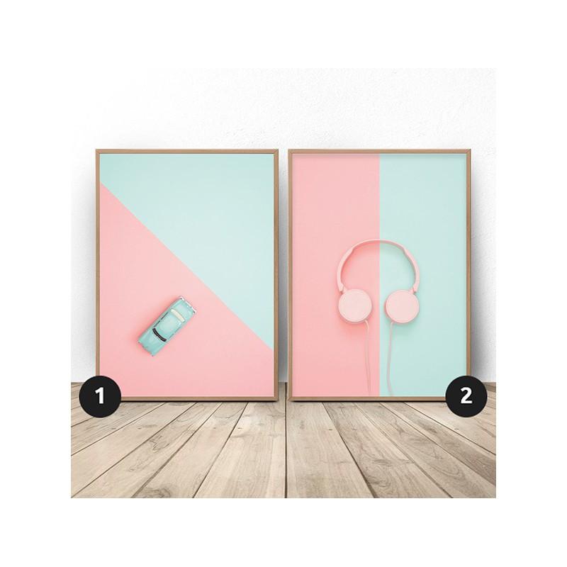 """Zestaw plakatów """"Miętowa bryka i różowe słuchawki"""""""
