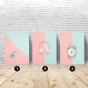Set of 3 pastel posters Mint and powder pink