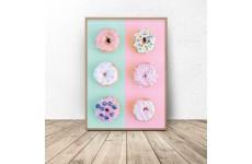 """Plakat na ścianę z pączkami """"Donuts"""""""