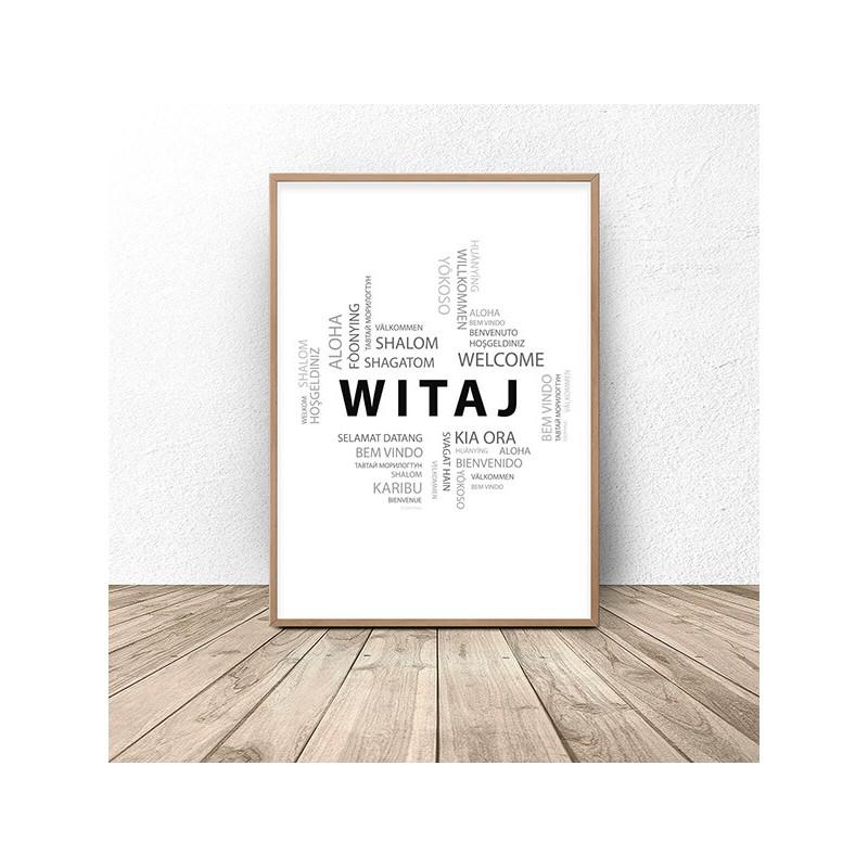 Plakat powitalny ze słowem WITAJ w wielu językach