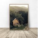 Skandynawski plakat Leśna chatka