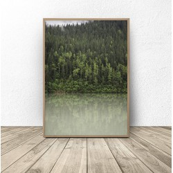 "Skandynawski plakat ""Las nad jeziorem"""