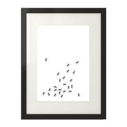 Czarno-biała grafika na ścianę imitująca chodzące po niej mrówki