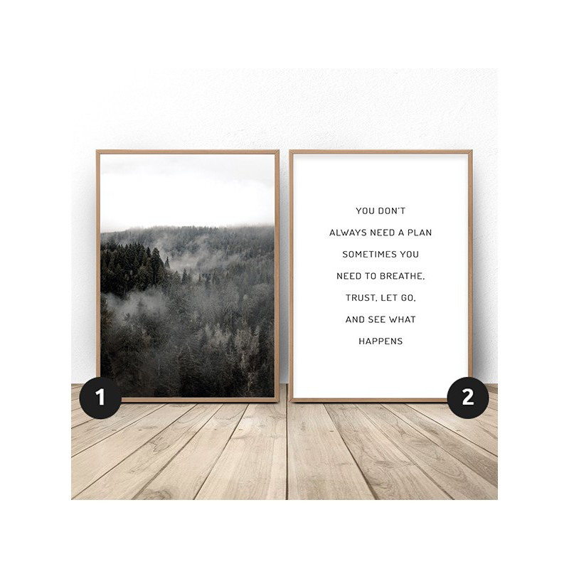 Set of 2 posters Silver Forest