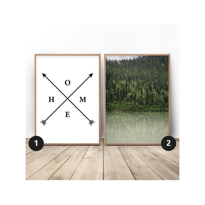 Set of 2 posters Green forest by the lake